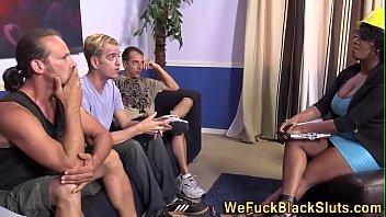 Sexy Ebony Interracial Bukkake Orgy